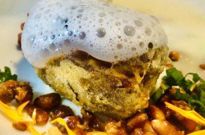 Amaranto-Datil en tempura relleno